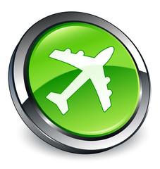 Plane icon 3D green button