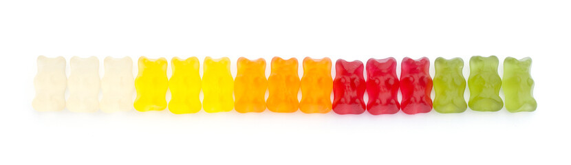 Gummy bears in a line