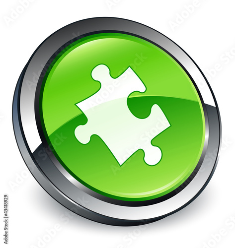 Puzzle / Plugin icon 3D green button