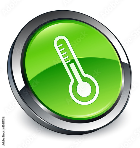 Thermometer icon 3D green button
