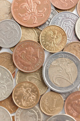 Scattering silver and gold coins