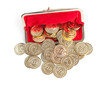 Scattered silver and gold coins are in red purse