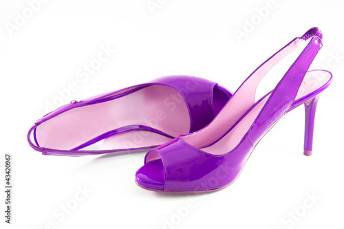 Purple shoes with high heels