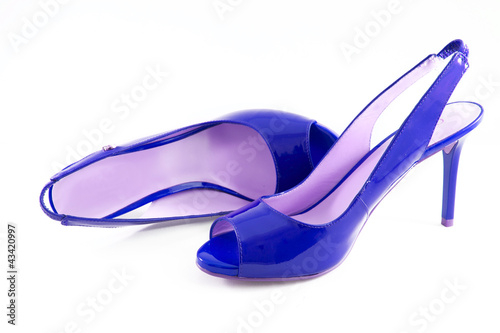 Blue shoes with high heels