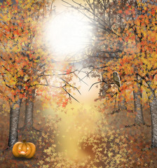 Autumn Halloween background with owl and pumpkin