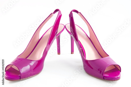 Pink shoes with high heels
