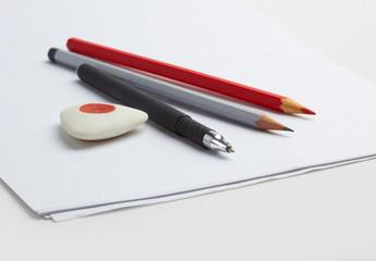 paper, pencil and pen