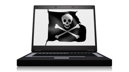 A laptop with a skull and crossbones pirate flag.