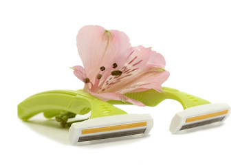 woman safety shavers and flower isolated on white.