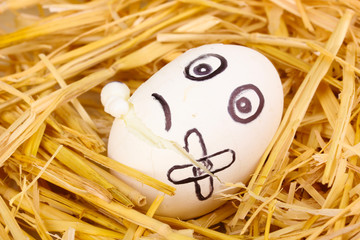 White egg with funny face in straw