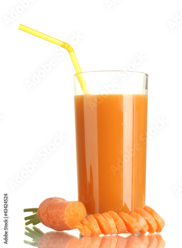 glass of carrot juice and fresh carrot isolated on white