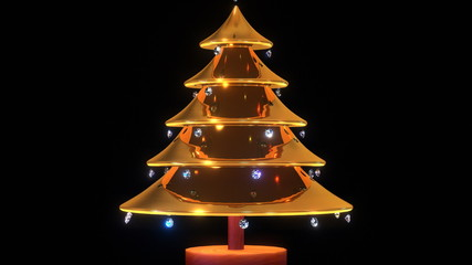 A christmas tree made of gold.