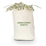 Bag with unemployment benefit poster
