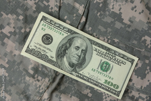 Dollars on army uniform