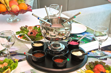 party served with a fondue