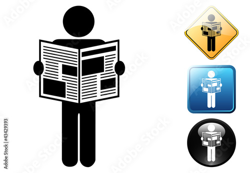 Man with newspaper pictogram and icons