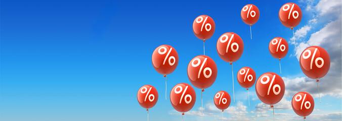 rote Luftballons mit Prozentzeichen Widesreen