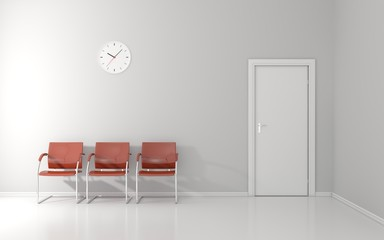 Three stools and wall clock in the waiting room