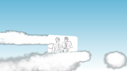 Cartoon type videos of business in the sky