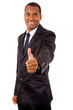 Happy African business man showing thumbs up on white