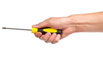 Hand holding a yellow and black screwdriver