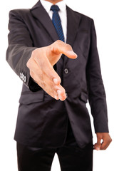 African American business man offering handshake over white back