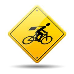 Señal amarilla simbolo mensajero en bicicleta