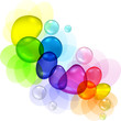 Color abstract with transparent bubbles and drops.