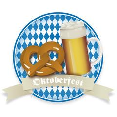 Oktoberfest Brezel und Bierkrug