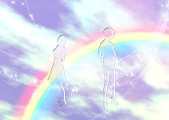 空と虹とシルエット