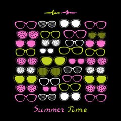 Color glasses and sunglasses on black background.