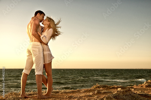 Romantic couple on the sea