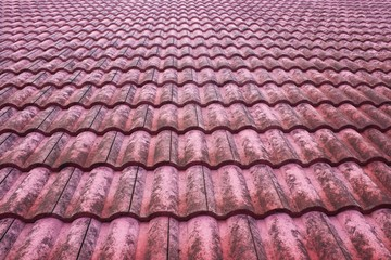 Old red bulgarian roof tiles close up detail