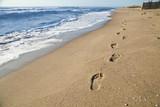 Fototapety Orme di un uomo che passeggia sulla spiaggia in riva al mare