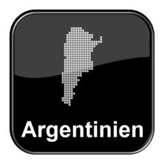 Glossy Button schwarz - Karte von Argentinien