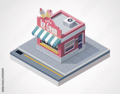 Vector isometric ice cream store