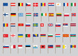set of European flags on flagstaff vector illustration
