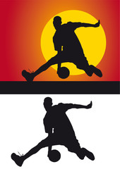 Basketball silhouette against a colored background