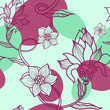 Set of vector retro floral seamless patterns