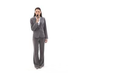 Business woman talking into a recorder device