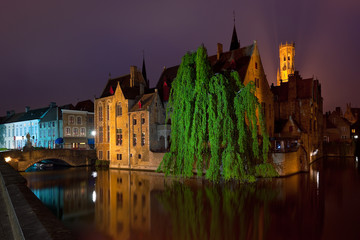 Night view on old buildings of Bruges