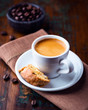Cup of espresso and cantuccini