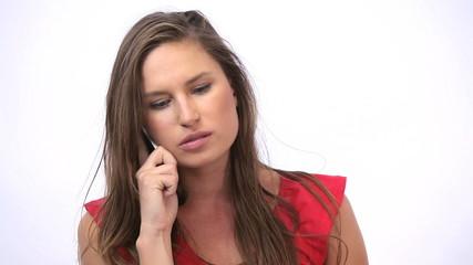 Upset woman calling