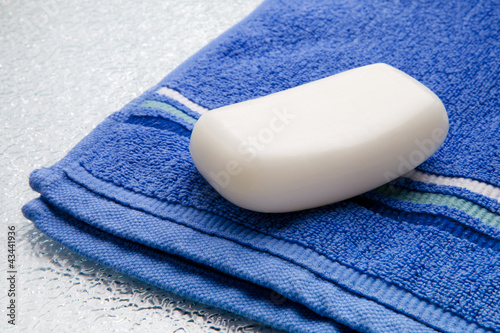 Soap bar on towel