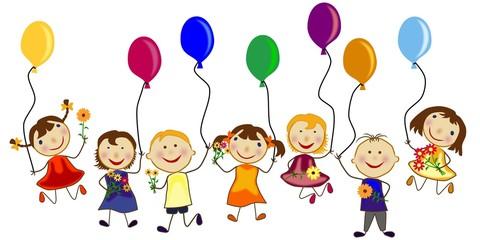 Kindergruppe mit Blumen und Luftballons