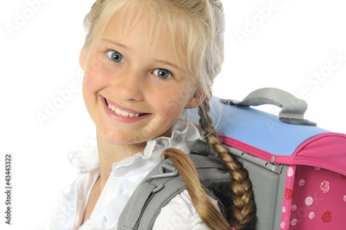 Portrait of bautiful young girl going to school