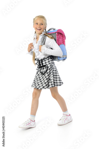 young girl going to school