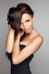 Portrait of sexy brunette woman with beautiful eyes