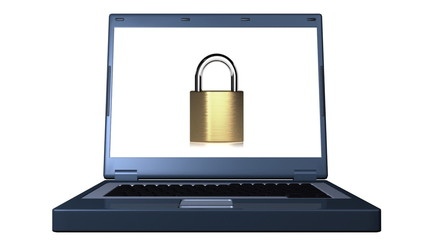 A brass padlock opening and closing on a laptop screen.