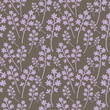 Seamless light violet flowers on grey